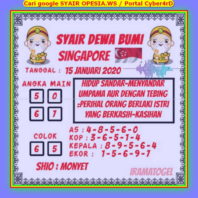Kode syair Singapore Rabu 15 Januari 2020 112