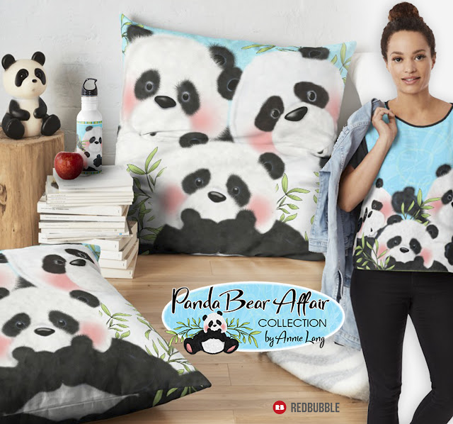 You'll find Annie Lang's designer Panda Bear characters product collection by Redbubble at anniethingspossible.com