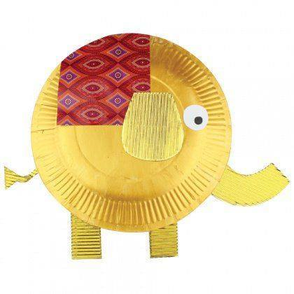 Idea to make elephant from paperplate from kids