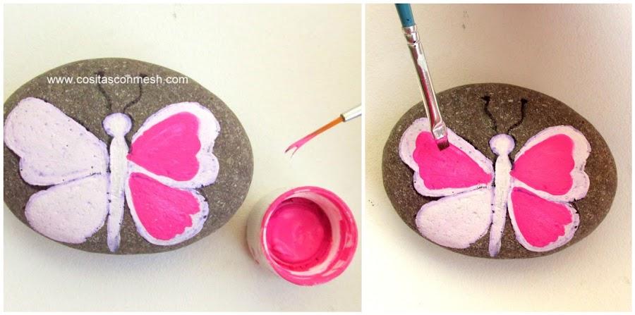 Ideas bonitas para pintar mariposas en piedras manualidades for Pintura para pintar piedras