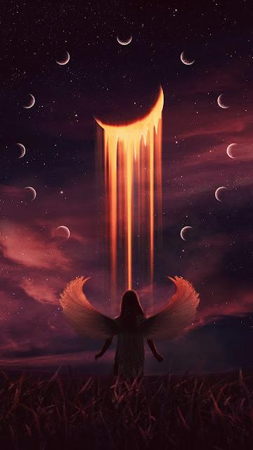 HD iPhone Wallpaper Fantasy Angel, Moon, Night, Art