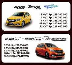 Harga Kredit Honda Mobilio Medan 2020 Cicilan Dp Ringan