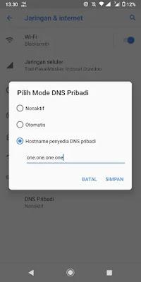 Cara Membuka Website yang Diblokir oleh Pemerintah di Android dengan Public DNS Cloudflare.