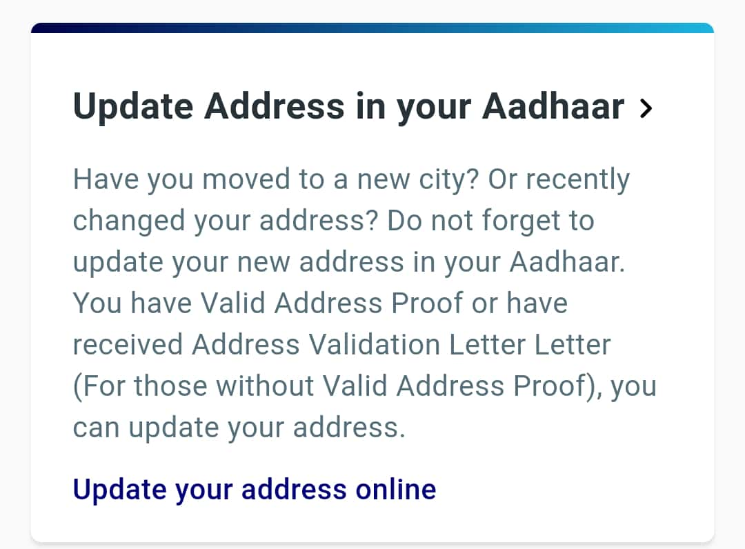 Update address in your aadhaar