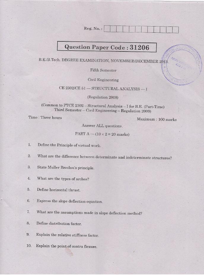 CE2302 Structural Analysis I Nov Dec 2013 Question Paper