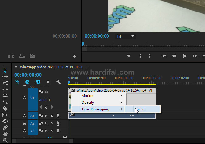 Gunakan time rimapping speed di adobe premiere
