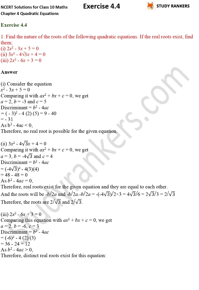 NCERT Solutions for Class 10 Maths Chapter 4 Quadratic Equations Exercise 4.4 Part 1