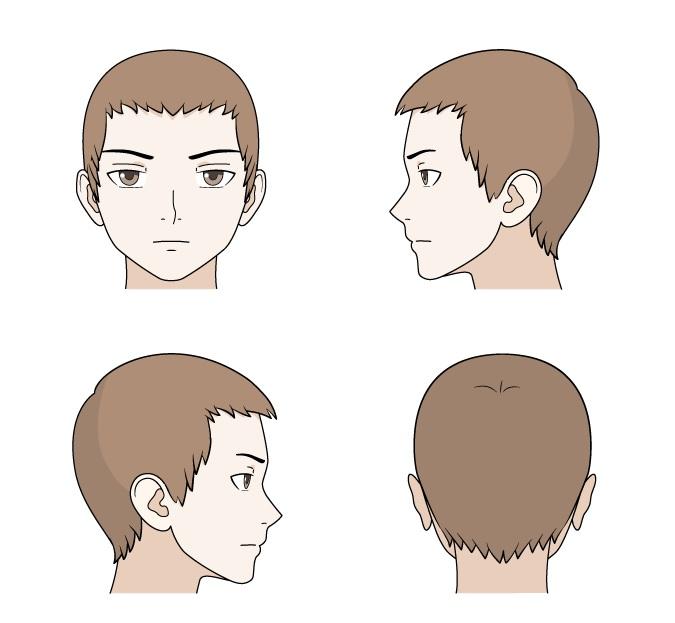 Menggambar rambut pendek anime depan dan pemandangan