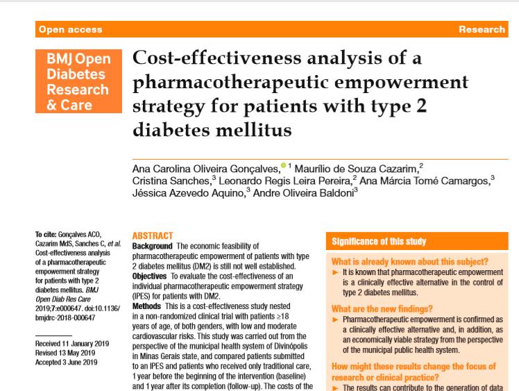 costo por paciente conocimiento de diabetes