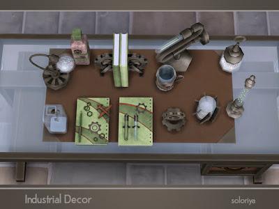 Industrial Decor Промышленный декор для The Sims 4 Промышленный декоративный набор. Отличное дополнение для промышленного набора. Имеет 3 цветовых вариации и 12 предметов: 8 настольных скульптур, 3 вида книг и блокнотов и тумблер. Все объекты можно найти в категории Декоративные - Беспорядок. Автор: soloriya