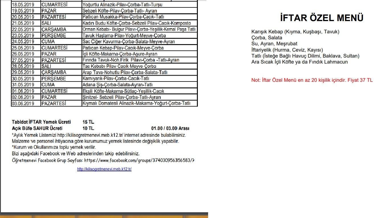 kilis öğretmenevi iletişim kilis öğretmenevi yemek menüsü kilis öğretmenevi fiyat listesi kilis sahur mekanları