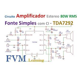 Amplificador Estéreo 80W RMS Fonte Simples com CI TDA7292