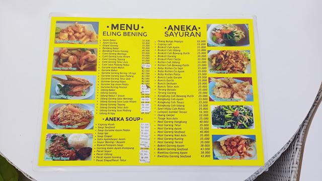 Eling Bening menu