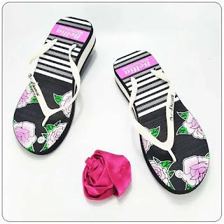 Sandal AMX Spon Tebal Motif-Bunga Wanita