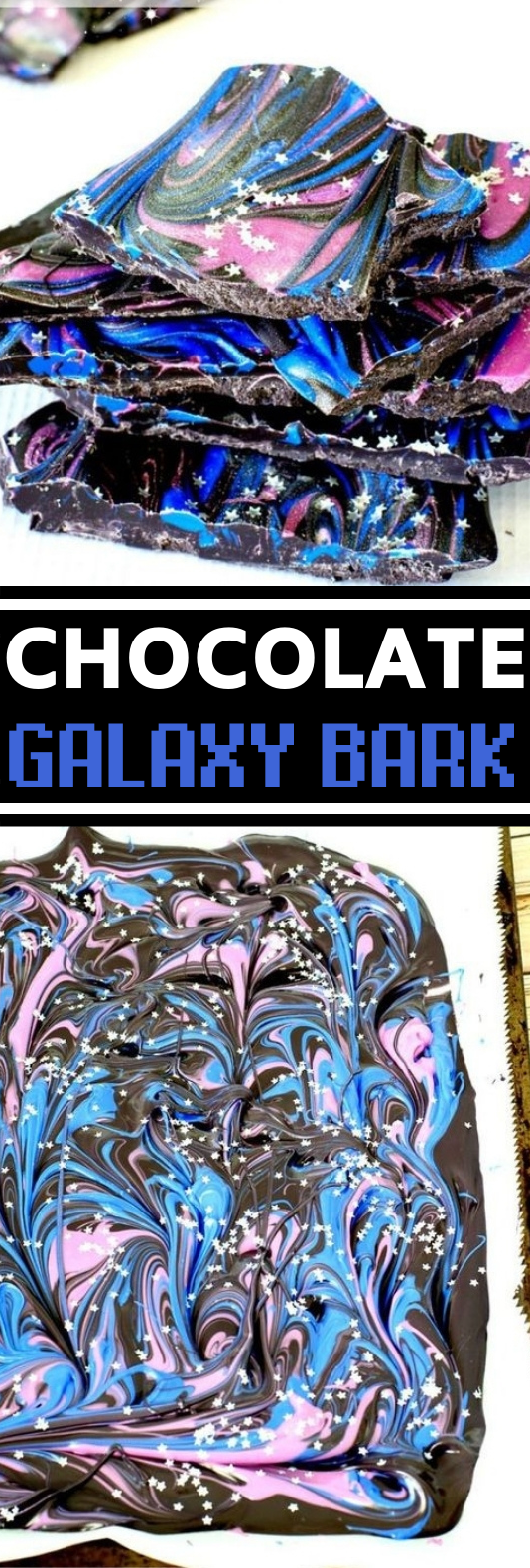 Galaxy Bark #easy #dessert #chocolate #nobake #candy
