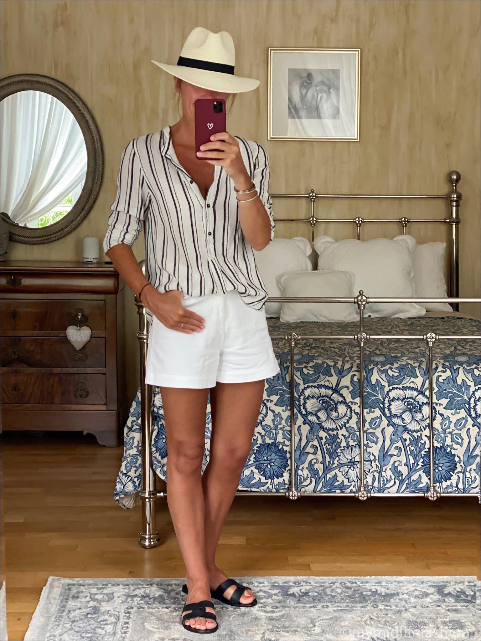 my midlife fashion, Baukjen Elina Organic short, Zara Panama hat, ancient greek Desmond sandals, Isabel Marant Etoile stripe shirt