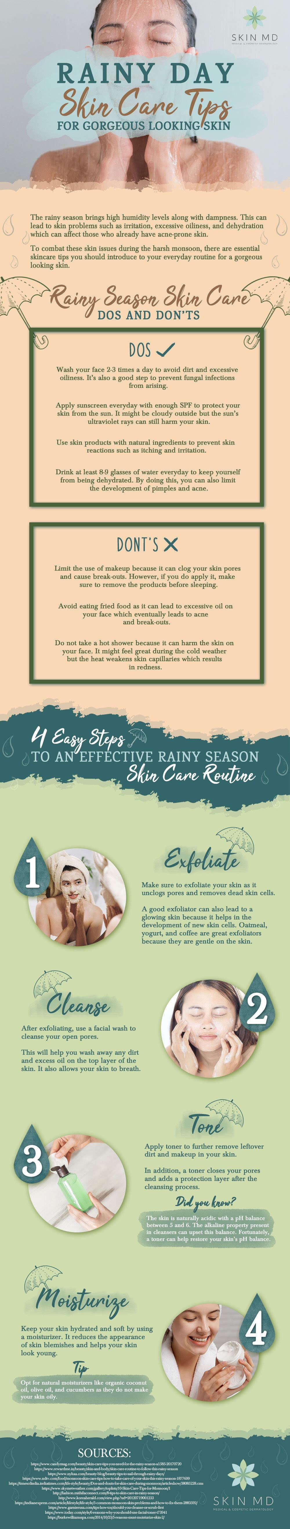 Rainy Day Skin Care Tips For Gorgeous Looking Skin #Infographic