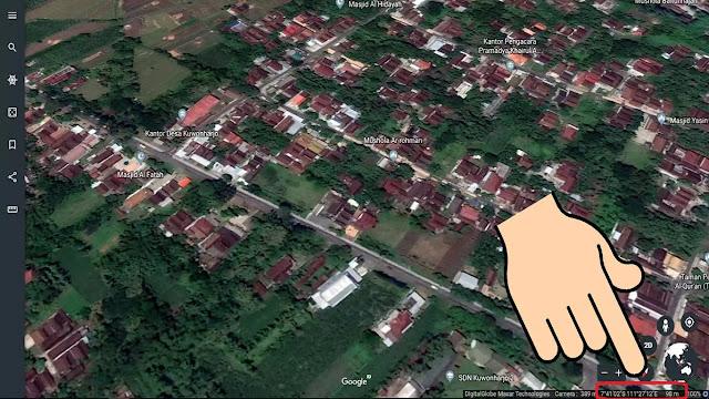 Cara mendapatkan Latitude, Longitude dan Altitude di Google Earth