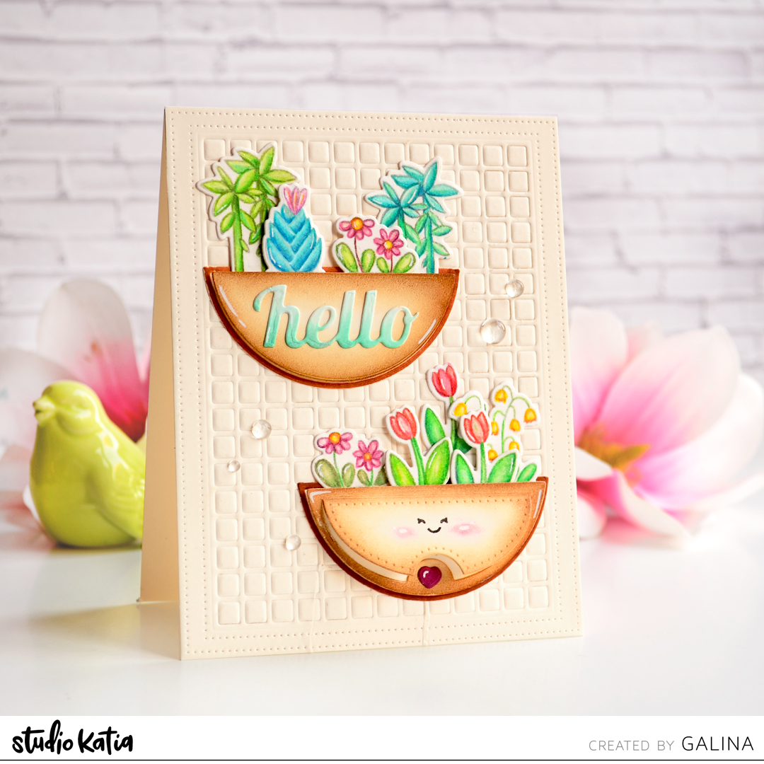 studio katia_potted plants_stamp_set_ELEGANT SCALLOP OVAL DIE set_ GRID COVER_ FANCY SCALLOP CIRCLE die set_card_making_paper craft_pencils_handmade_diy_greeting_coloring_stamping_1