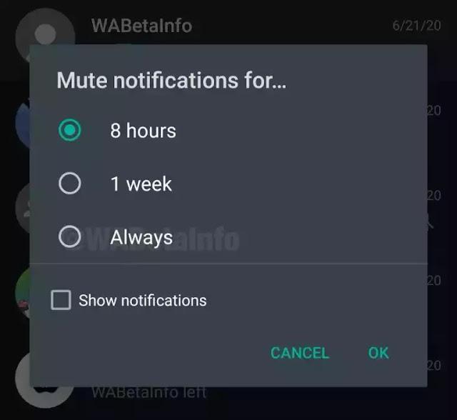 WhatsApp mise en sourdine