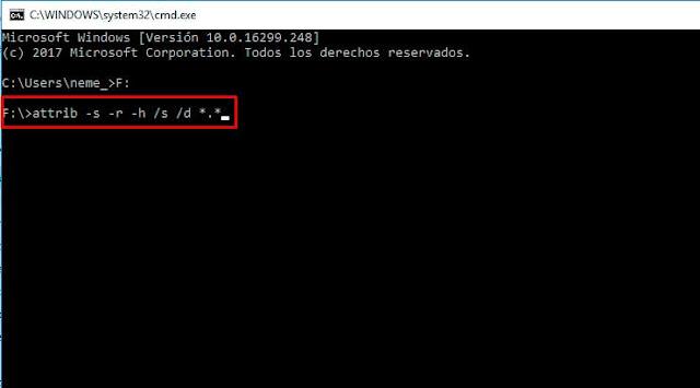 Desocultar archivos y eliminar accesos directos de la USB