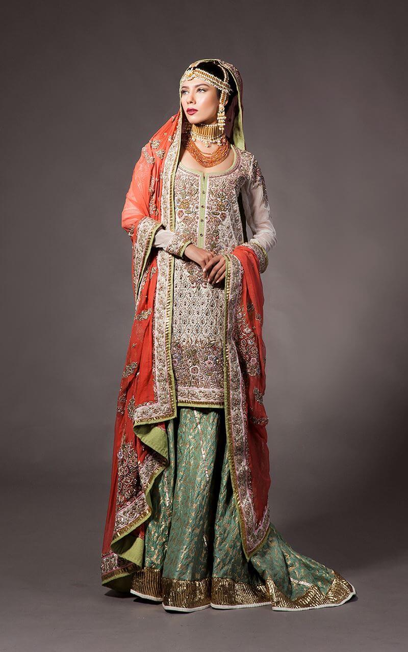 Fahad Hussayn Multi Color Bridal Mehndi Dress