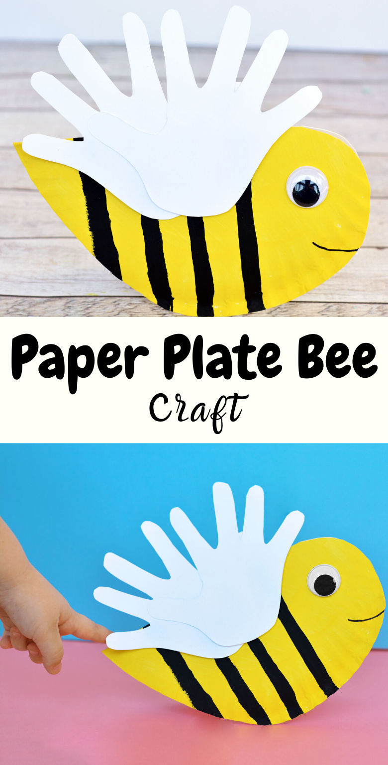 Paper plate bee craft for kids. Bee handprint craft.