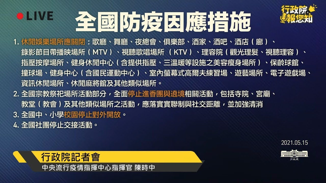 行政院公告 全國防疫因應措施 第三級防疫警戒區域注意事項 圖文總整理