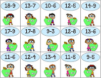 Apple Subtraction Game Task Cards