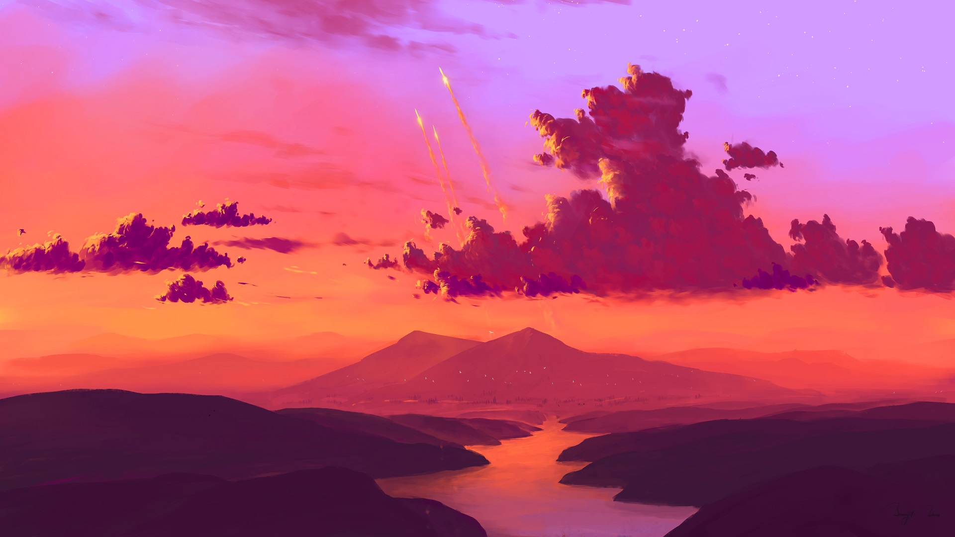 BEAUTIFUL LANDSCAPE ILLUSTRATION TO USE AS DESKTOP WALLPAPWER FOR HD 1080P SCREEN