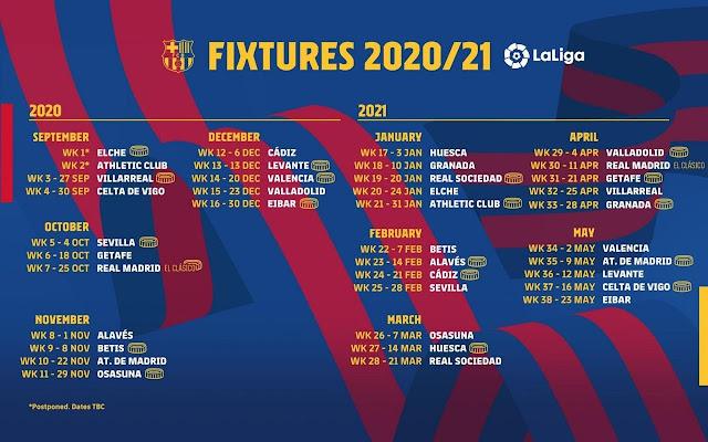 مباريات برشلونة فى الموسم الجديد من الدورى الأسبانى 2021