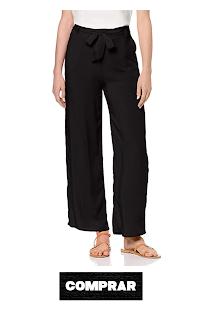 Pantalon Palazzo negro para mujer, ancho