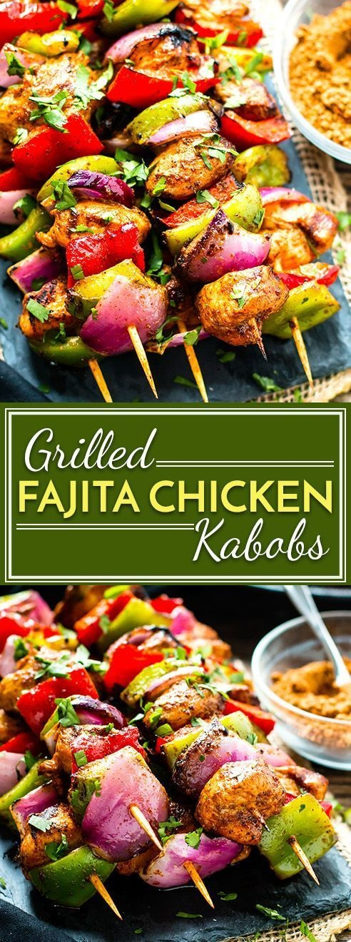 Grilled Fajita Chicken Kabobs with Vegetables