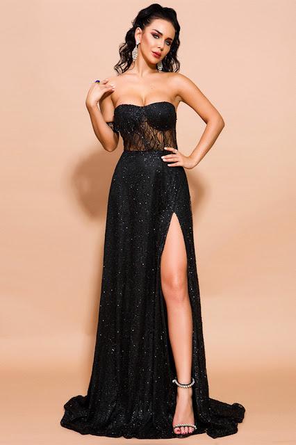 sequins long prom dress