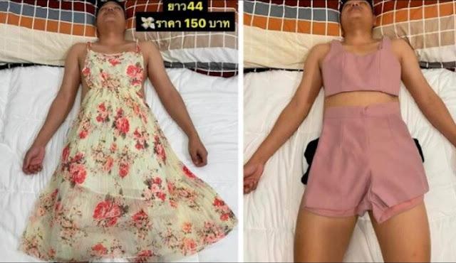 Jadikan Suami yang Tertidur sebagai Model Pakaiannya, Aksi Unik Penjual Baju Ini Viral