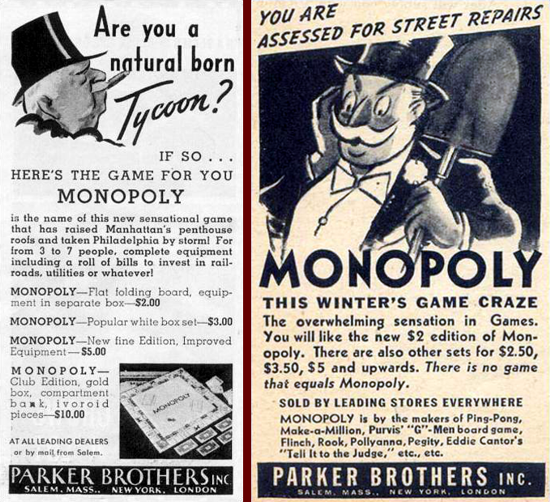Monopoly Advertising 1935-1936