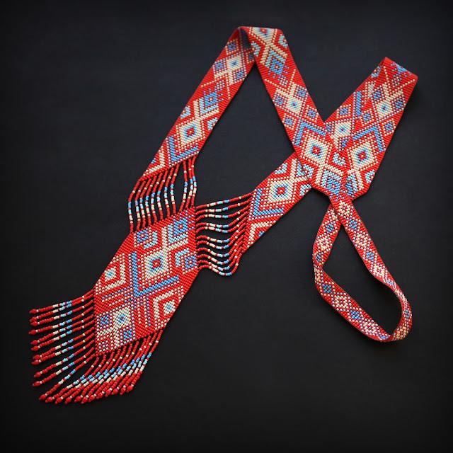 купить красный  гердан из бисера ручной работы купить ручные работы из бисера
