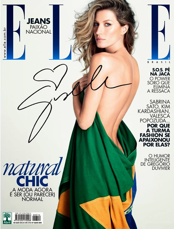 Gisele drapes herself in the Brazilian flag for Elle Brazil July 2014