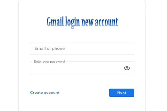 Gmail login new account