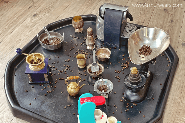 coffee beans sensory play tray with coffee grinder - tuff tray ideas