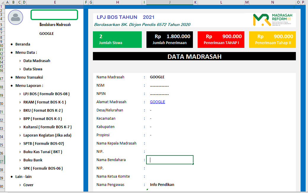 gambar aplikasi lpj bos madrasah 2021 excel