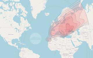 Footprints and Beam Coverage Satellite Thor 6 0.8°W KU Band