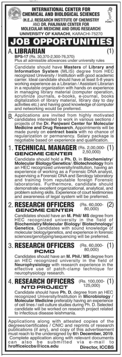 International Center For Chemical & Biological Sciences Management Posts Karachi 2019