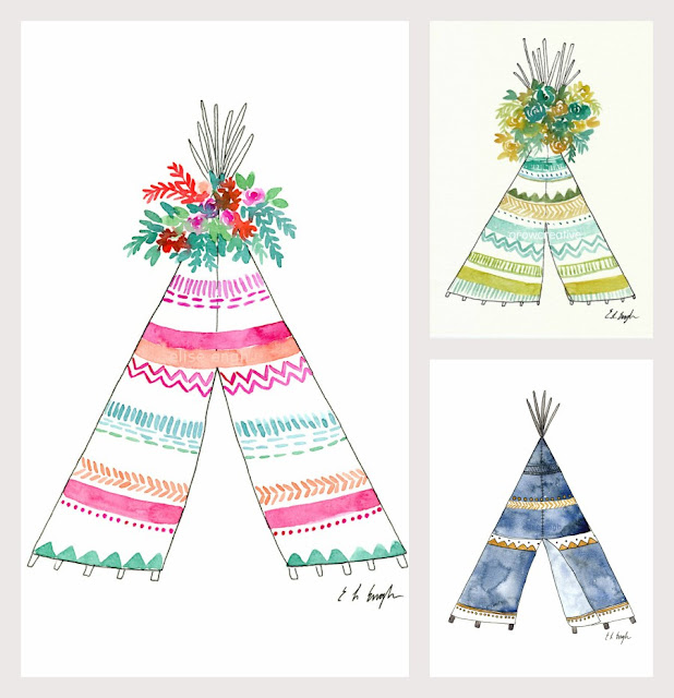Original Watercolor Teepee Illustrations by Elise Engh