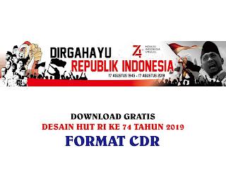 Download Contoh Desain Banner HUT RI Ke 74 TH 2019 CDR, Ai, EPS, PNG