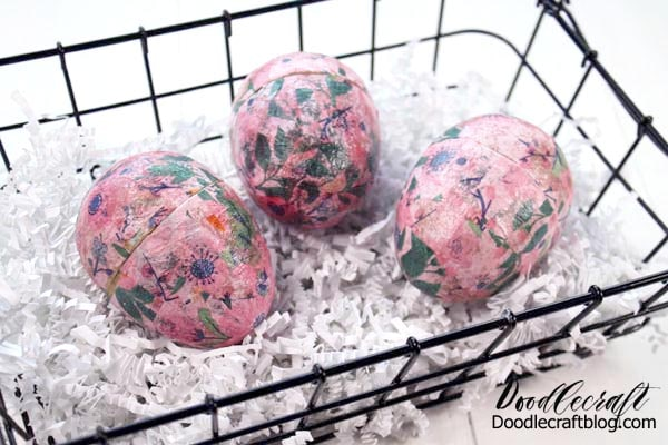 These cute floral eggs are the perfect craft for Easter. They are easy to make and look chic for home decor or an epic egg hunt. Fill them with goodies, small toys or even love notes and display them in a cute basket.