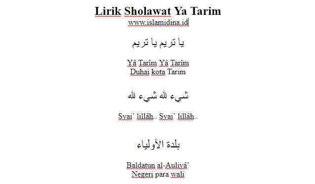 lirik Sholawat Ya Tarim