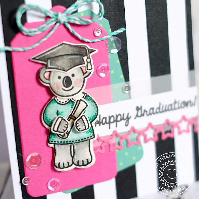 Sunny Studio Stamps: Comfy Creatures & Woo Hoo Koala Bear Graduation Card by Lexa Levana.