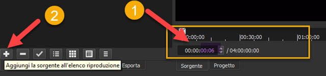 impostazione della durata della clip colore trasparente