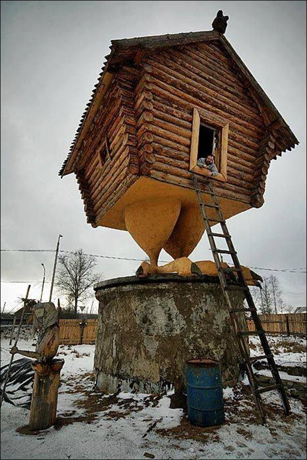casa com pé de ave